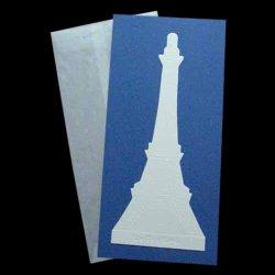 Photo1: 2-3 EIFFEL TOWER CARD & ENVELOPE (BLUE)